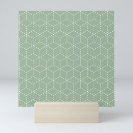 Sashiko stitching Green pattern 1 Mini Art Print