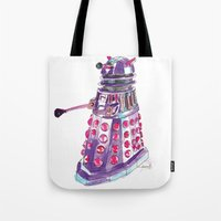 dalek Tote Bags featuring Dalek by BlueAcorn