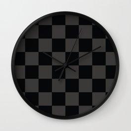 Black & Gray Checkered Pattern Wall Clock