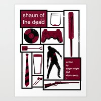 shaun of the dead Art Prints featuring Shaun of the Dead by Stephanie Vanelli