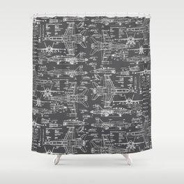 F-18 Blueprints // Charcoal-Grey Shower Curtain