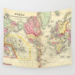 Vintage Map of The World (1860) Wall Tapestry