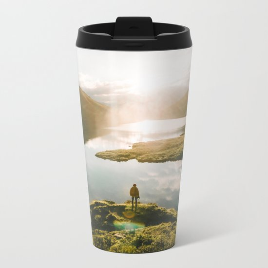 Switzerland Mountain Lake Sunrise - Landscape Photography Metal Travel Mug