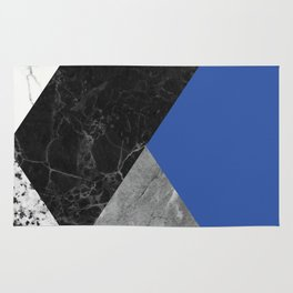 Black and White Marbles and Pantone Lapis Blue Color Rug