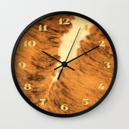 Burnt Orange Texas Longhorn Animal Leather Pattern Wall Clock