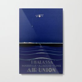 Thalassa Air Union Vintage Travel Poster Metal Print