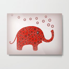 Red Circles Elephant Metal Print
