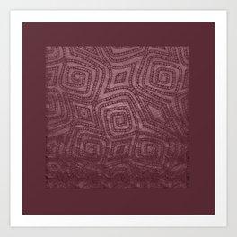 Burgundy Spiral Diamond Pattern Art Print
