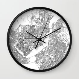 Istanbul White Map Wall Clock
