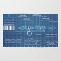 blueprint Area & Throw Rugs featuring Riversong Screwdriver Blueprint by JackEmmett