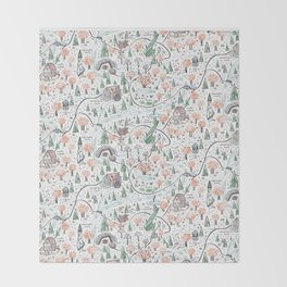 Enchanted Forest Map Throw Blanket