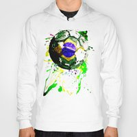brazil Hoodies featuring football Brazil by seb mcnulty