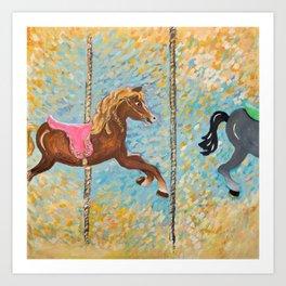 Matilda the Vintage Carousel Horse Art Print