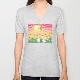 bunnies, daffodils, yellow warblers, & sunshine Unisex V-Neck