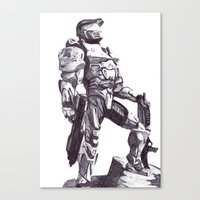 master chief Canvas Prints featuring Master Chief 117 by DeMoose_Art