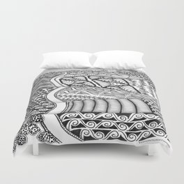 Zentangle Fields of Dream Black and White Adult Coloring Illustration Duvet Cover