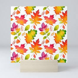 Fall Leaves Watercolor - White Mini Art Print