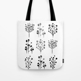 Black and white plant collage Tote Bag