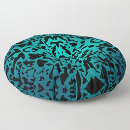 Openwork ornament of light blue spots and velvet blots on black. Floor Pillow