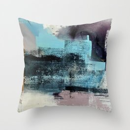 Reaction: an abstract mixed media piece in blues and purple by Alyssa Hamilton Art Throw Pillow