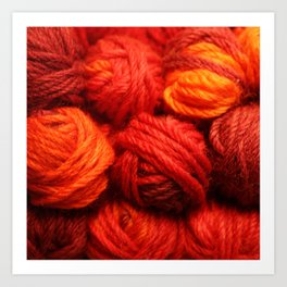 Many Balls of Wool in Shades of Red Art Print