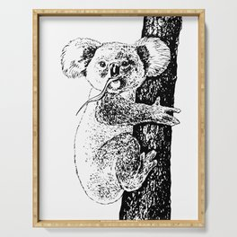 Koala ink drawing Serving Tray