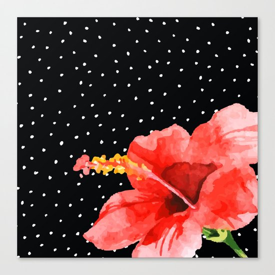 Tropical flower on dots Canvas Print