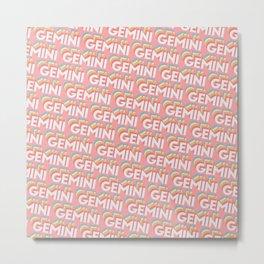 Gemini Trendy Rainbow Text Pattern (Pink) Metal Print