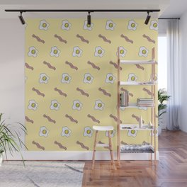 Eggs and Bacon Breakfast Foodie Funny Pattern Wall Mural