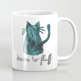 Down to Fluff Cute Cat Quote Blue Abstract Print Coffee Mug