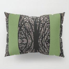 Gothic tree striped pattern green Pillow Sham
