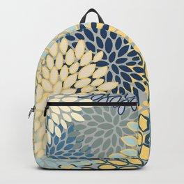 Modern, Abstract, Flower Garden, Blue, Yellow, Gray Backpack