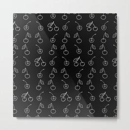 Black white hand drawn cute cherries fruit pattern Metal Print