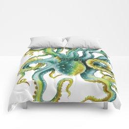 Octopus Tentacles Green Watercolor Art Comforters