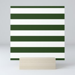 Large Dark Forest Green and White Cabana Tent Stripes Mini Art Print