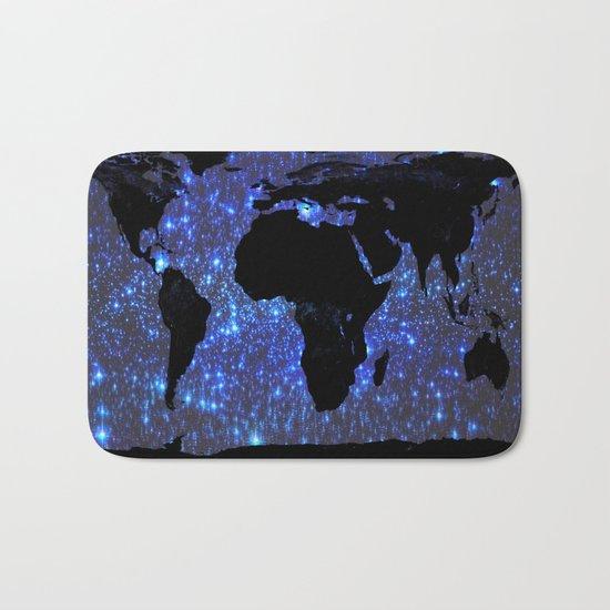 World Map : Blue Galaxy Stars Bath Mat