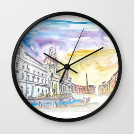 Romantic Piazza Navona in Rome Italy Wall Clock