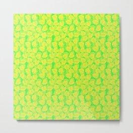 Big Monstera Tropical Leaf Hawaii Rain Forest Lemon Yellow and Lime Green Metal Print