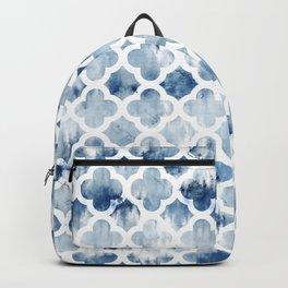 Modern navy blue tie dye hand painted watercolor geometric quatrefoil pattern Backpack