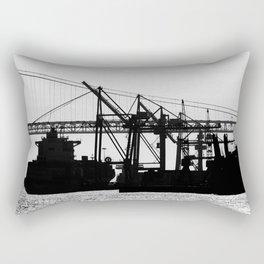 Metallic Architectures Docked Cargo Ships Rectangular Pillow