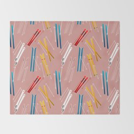 Colorful Ski Illustration and Pattern no 2 Throw Blanket