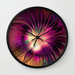 Flowering Fantasy, Abstract Fractal Art Wall Clock