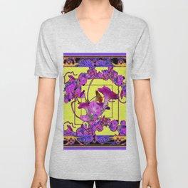 Decorative  Purple Vining Flowers Yellow Art Unisex V-Neck