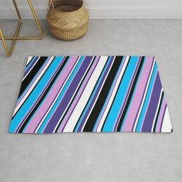 Deep Sky Blue, Plum, Dark Slate Blue, White & Black Colored Lined Pattern Rug
