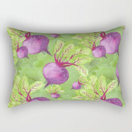 Beets on Green Background Watercolor Rectangular Pillow