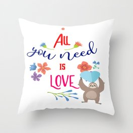 All You Need is Love-Family Motivational Quotes Throw Pillow