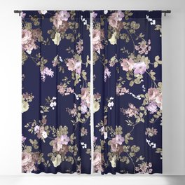 Elegant navy blue lilac pink gold glitter floral Blackout Curtain