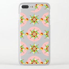 Pink Polka Dot Geometric Clear iPhone Case