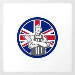 British Butcher Front Union Jack Flag Icon Art Print