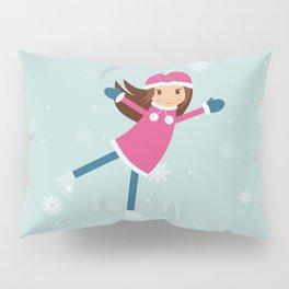 Little girl on skating rink Pillow Sham
